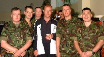 WO2 Jim Sutherland, again,  pictured this time with Newcastle Team Captain Alan Shearer and other members of UK(NSE). Taken when the team visited Butmir Camp, Sarajevo. [ August 2002]